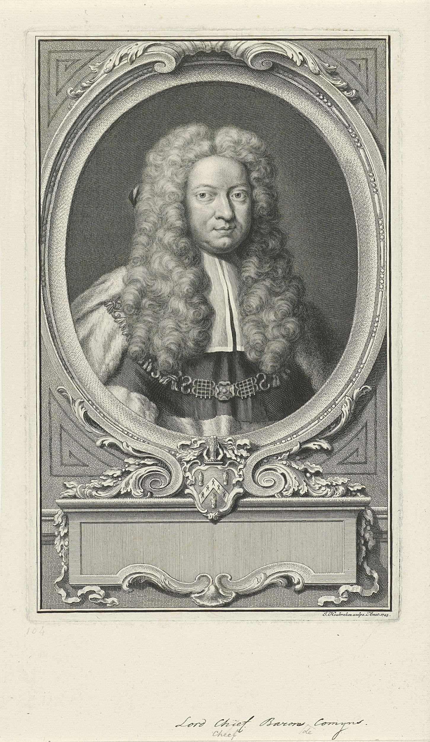 Jacob Houbraken | Portret van Lord Chief Baron Comyn, Jacob Houbraken, 1745 | Buste naar rechts van Lord Chief Baron Comyn in een ovaal. Onder het portret een ornamenteel cartouche en zijn wapen. De titel is handgeschreven.