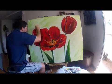 Como Pintar Tulipas Youtube Painting Painting Tutorial Art