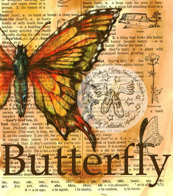 PRINT Butterfly Drawing on Distressed Dictionary door flyingshoes