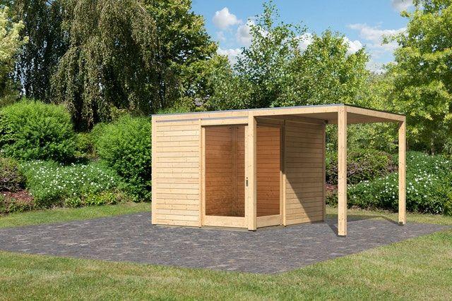 Karibu Premium Gartenhaus Qubu Eck mit Schiebetür inkl