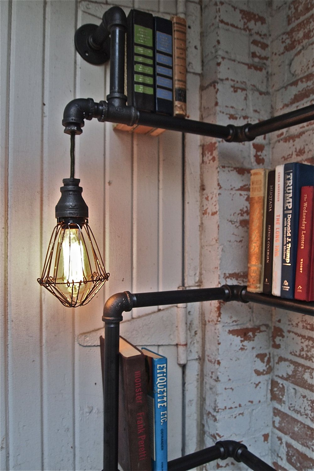 Industrial Pipe Corner Shelf with Pendant Lighting. $389.00, via Etsy.