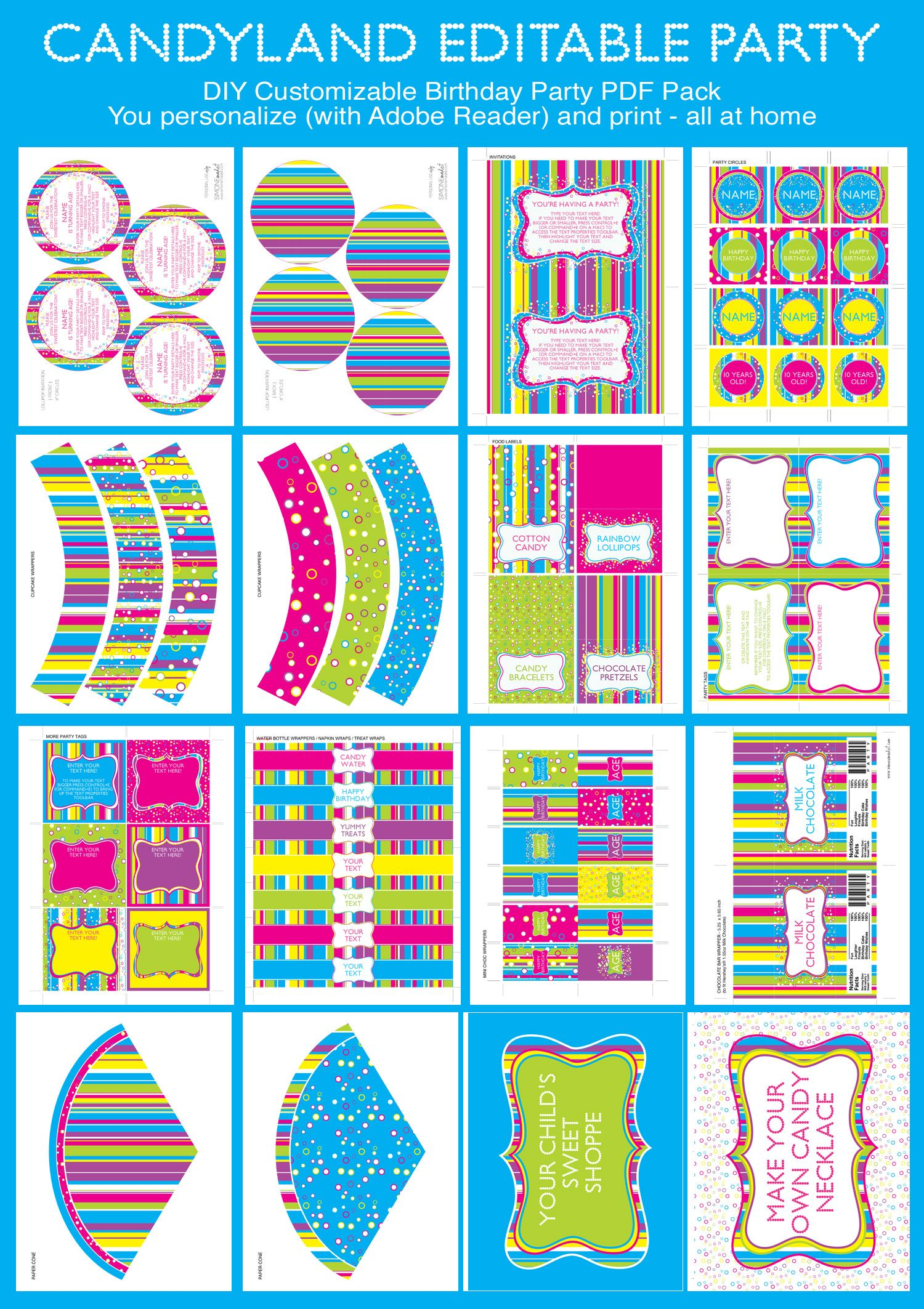 Candyland Party Printables, Invitations & Decorations | Cumpleaños ...