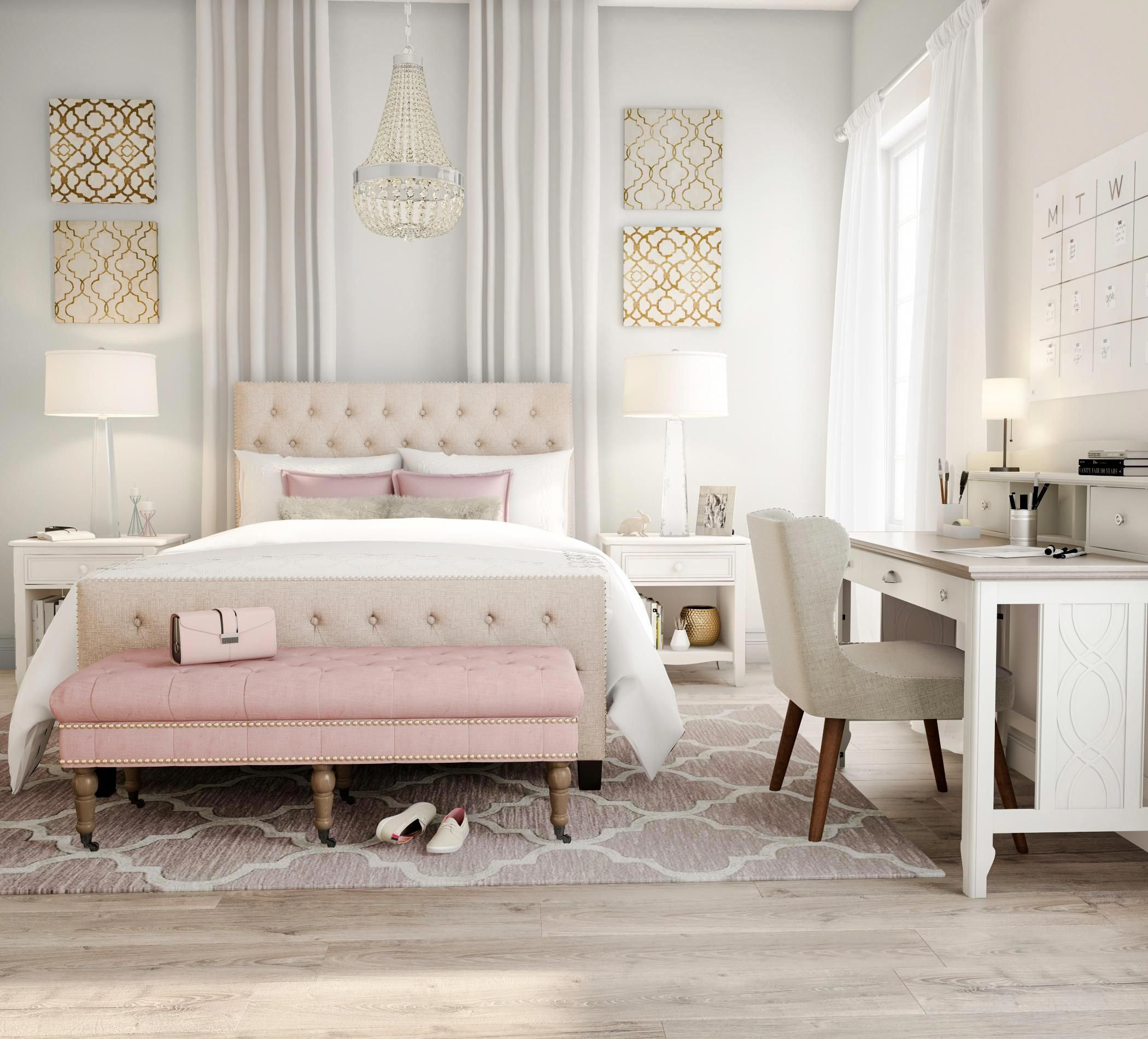 Excite Your Senses With Pink And Gold This Modern Bedroom Is Fun But Sophisticated With Seashell A Beige Walls Bedroom Pink Bedroom Decor Gold Bedroom Decor