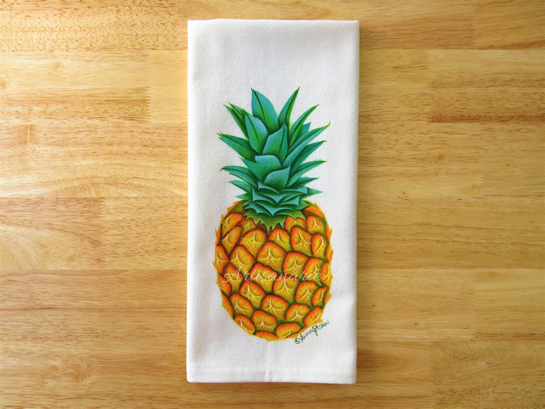 Pineapple Tea Towel Pineapple Kitchen Towel Tropical Fruit Decor