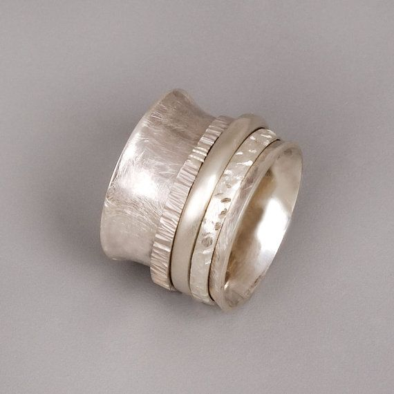 Silver Spinner Ring Sterling Silver Ring Wide Silver Ring Womens
