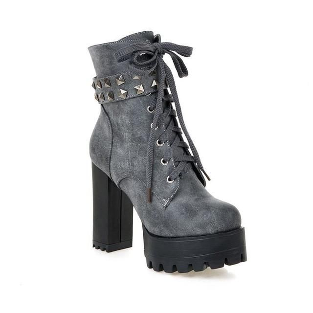 Hot Womens Lace Up Motorcycle Platform High Block Heel Punk Shoes Ankle Boots sz