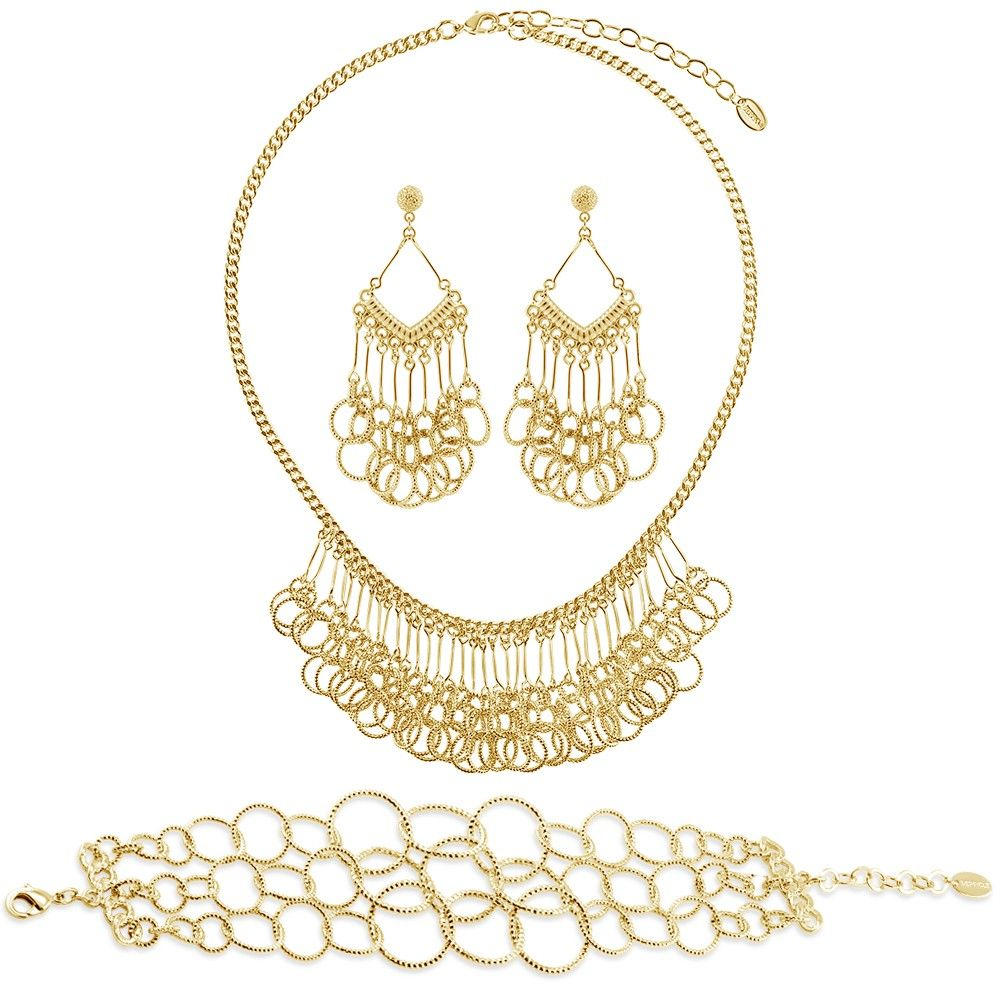 This 3-piece statement jewelry set flaunts linked circles and sophisticated details for an unexpected festive feel. Made of gold-tone brass. Necklace measures 17.5 inch with 3 inch extension in length with 1.5 inch in drop and secures with lobster claw clasp. Earrings measure 2.5 inch in length, 1 inch in width. Posts with butterfly back closures. Bracelet measures 1 inch in width, 7 inch in length, with 1 inch extension.