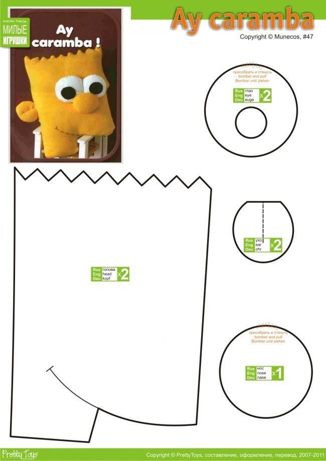 Bart Simpson | Russische SM | Pinterest | Kissen nähen, Kissen und ...