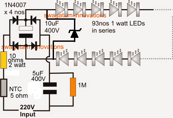 The Article Discusses A Very Simple 100 Watt Led Bulb Circuit Using A Few High Voltage Capacitors The Ent Electronic Circuit Projects Circuit Projects Circuit