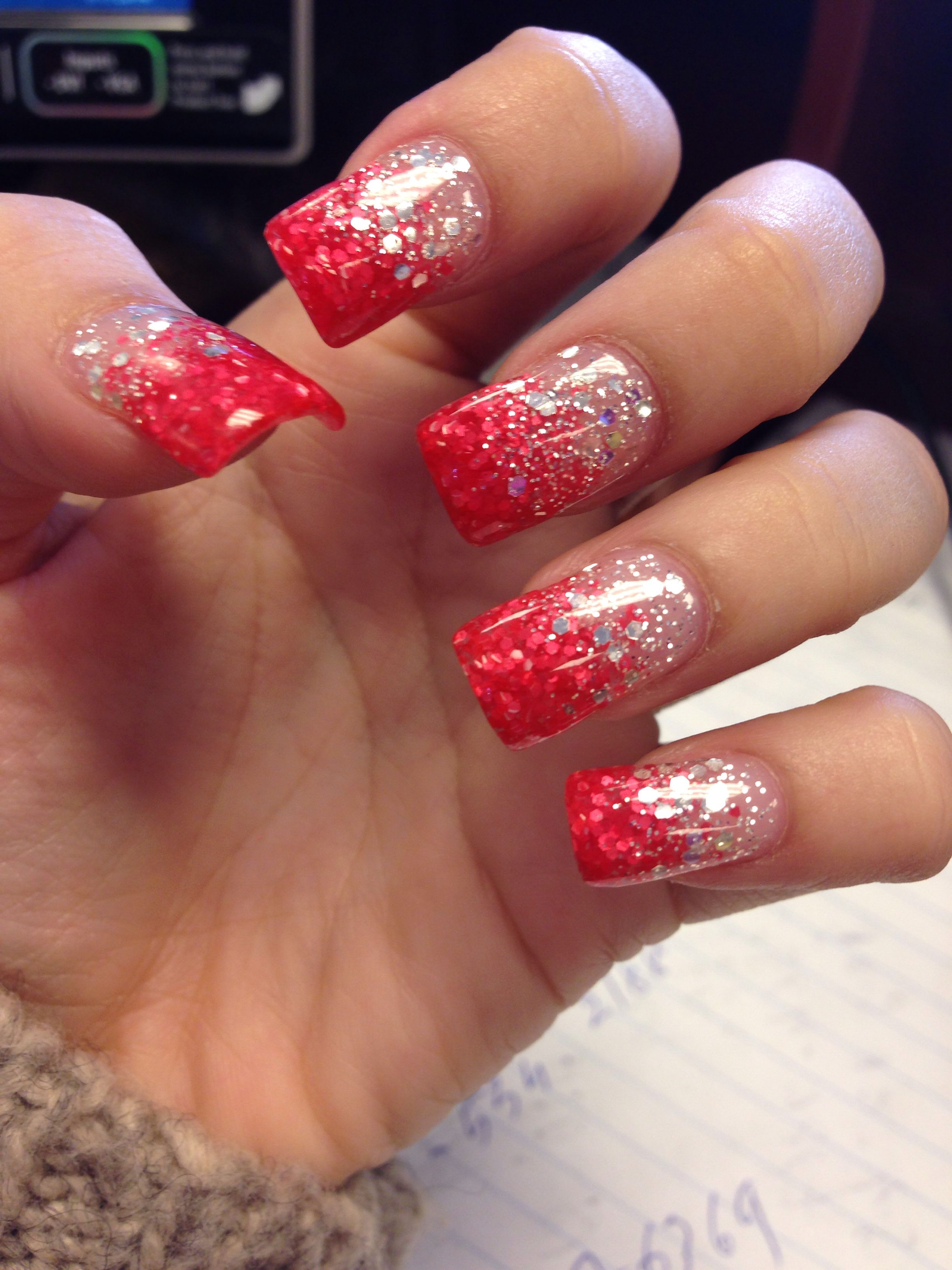 Pink Glitter Faded On My Nails Christmas Nails Nails Acrylic