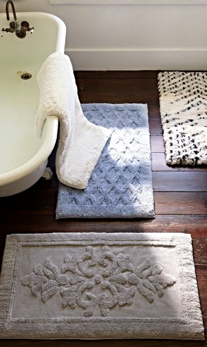 Step Out Of The Shower Onto Nearly 2 Ultra Soft Decadence With Solid Removable Memory Foam Bath Rug Frontgate Interiors