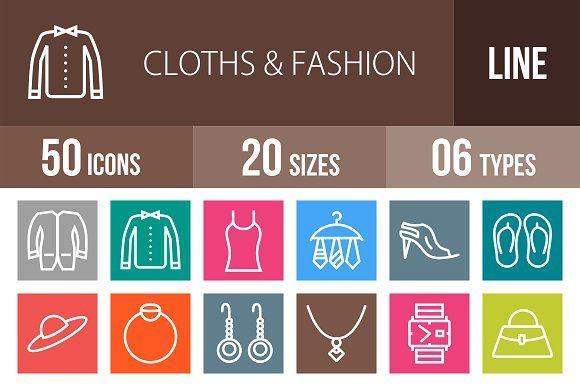 50 Clothes & Fashion Line Multicolor by IconBunny on @creativemarket