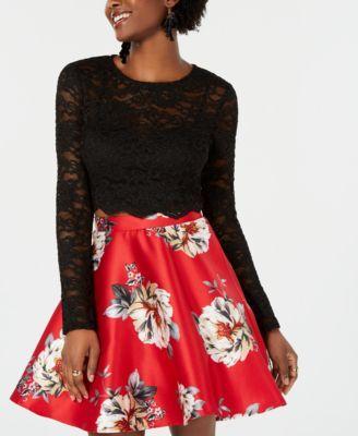 2cbf8c8e34 City Studios Juniors  2-Pc. Lace   Floral-Print Fit   Flare Dress - Red 15