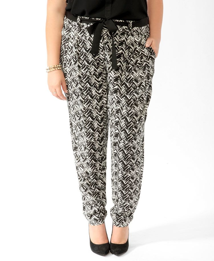 Abstract Chevron Pants w/Belt | FOREVER21 PLUS - 2019572485
