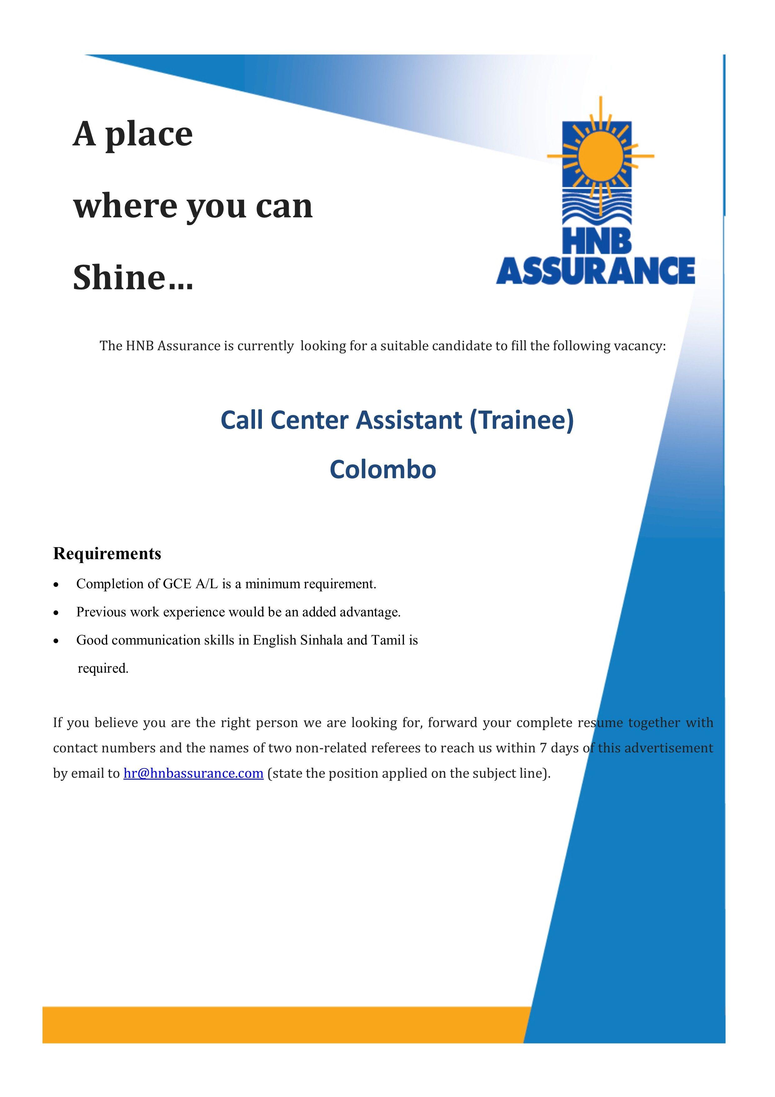 Call Center Assistant At Hnb Assurance Plc Career First Data Entry Data Call Center