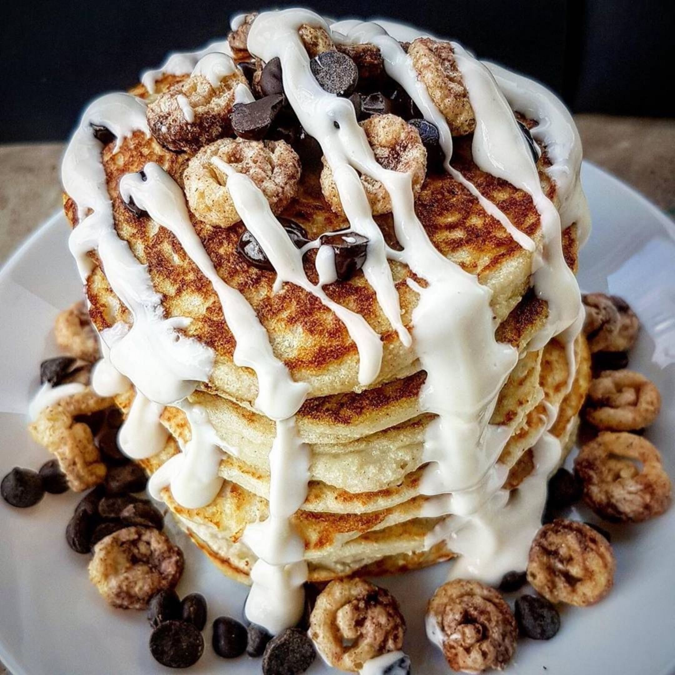 Chocolate Chip Cinnamon Roll Pancakes From