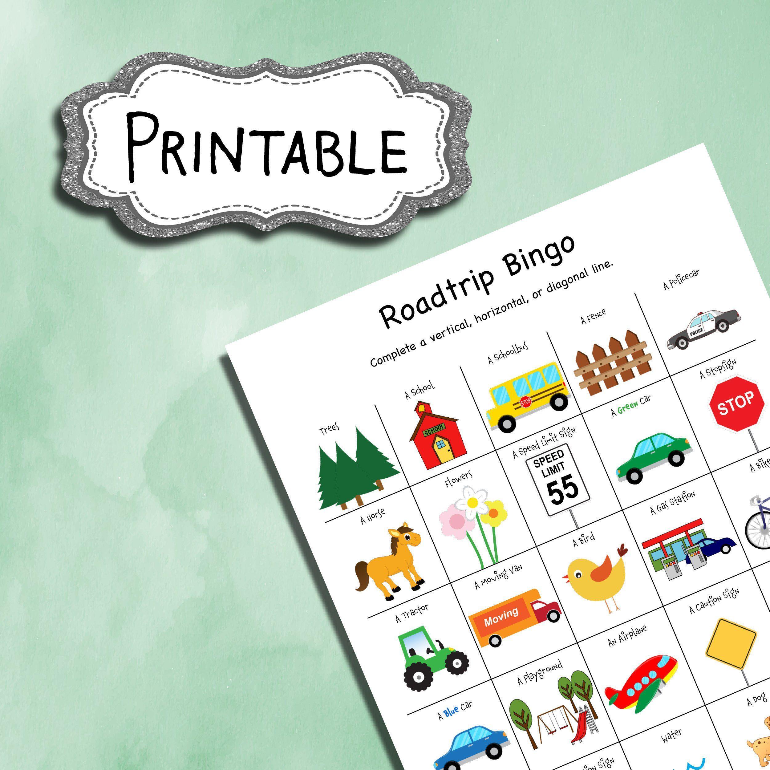 Roadtrip Bingo Printable Worksheet For Kids