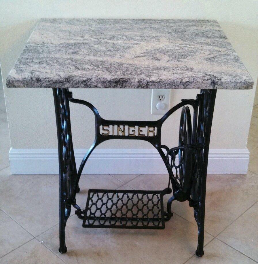 Antique Singer Treadle sewing machine repurposed furniture granite ...