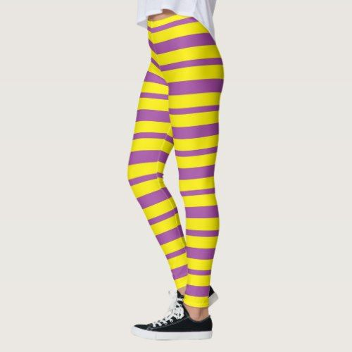 ec2d3ea774bfaa Thick and Thin Purple and Yellow Stripes Leggings - diy cyo customize  create your own personalize