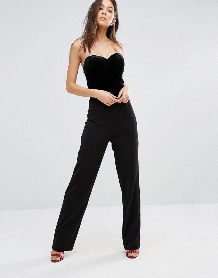 Unique 21 Strapless Velvet Jumpsuit