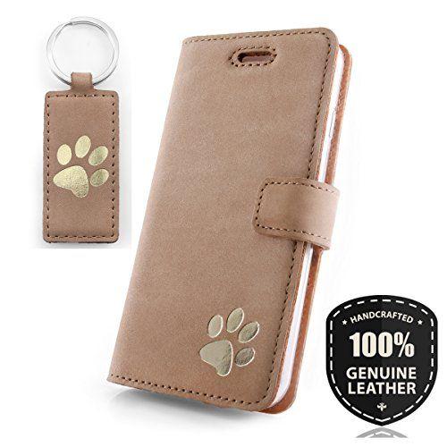 fad9fb77508ee APPLE iPhone 8 - Gold Hunde Pfote - Premium Ledertasche Schutzhülle Wallet  Case aus Echtesleder mit