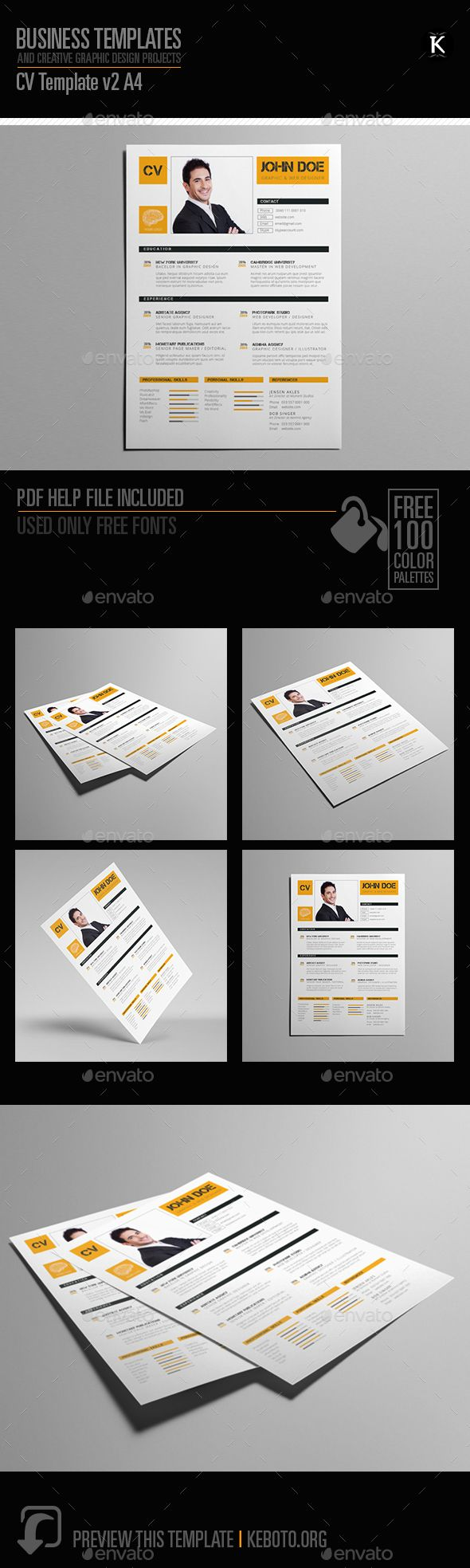 Cv Template V A  Cv Template Adobe And Simple Resume Template