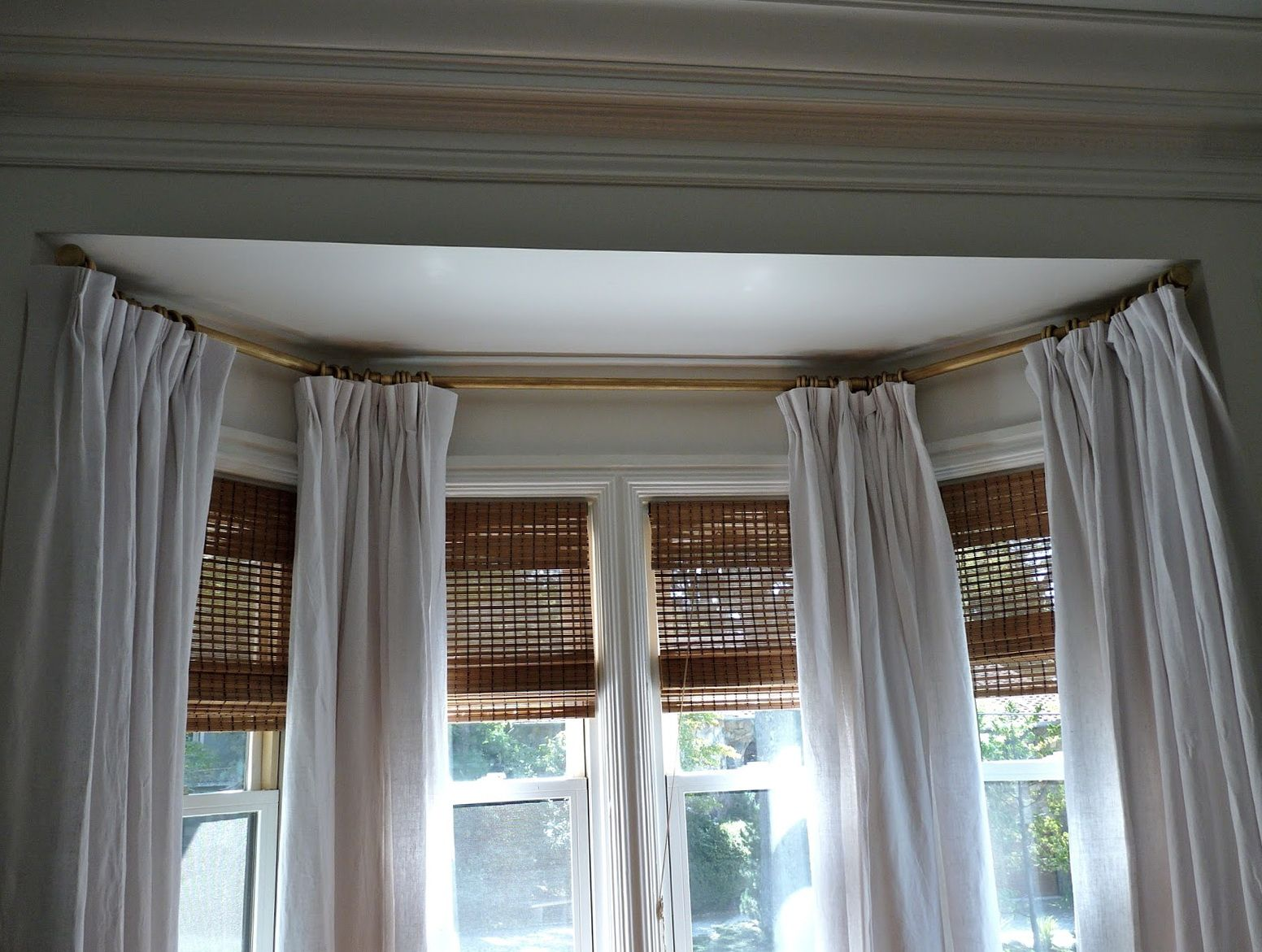 Bay Window Curtain Track Ceiling Fix Decoracao