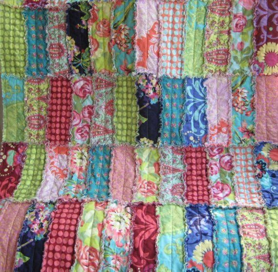 Amy Butler Rag Quilt Love Print Reversible Crib Size Rag Strip Quilt