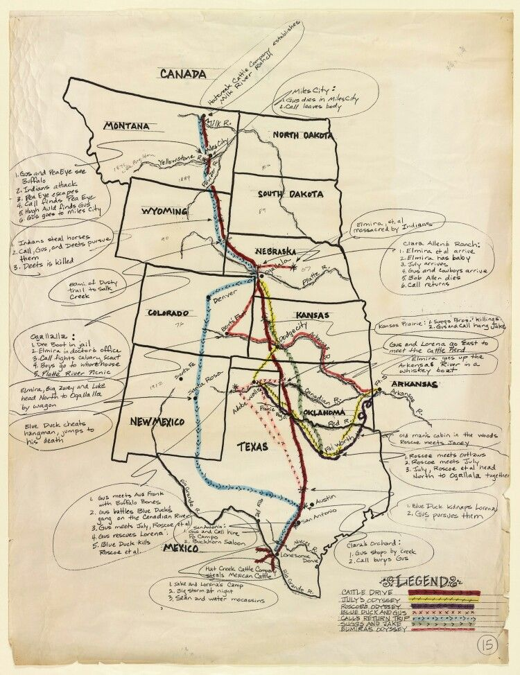 Lonesome Dove Original Concept Drawing Of The Trail Map Hat Creek