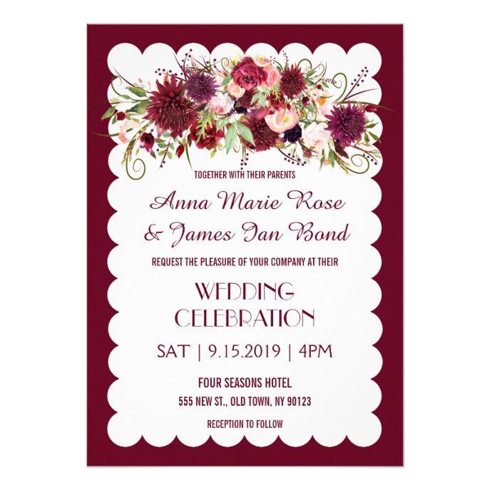 Marsala Red Burgundy Floral Chic Wedding Invite
