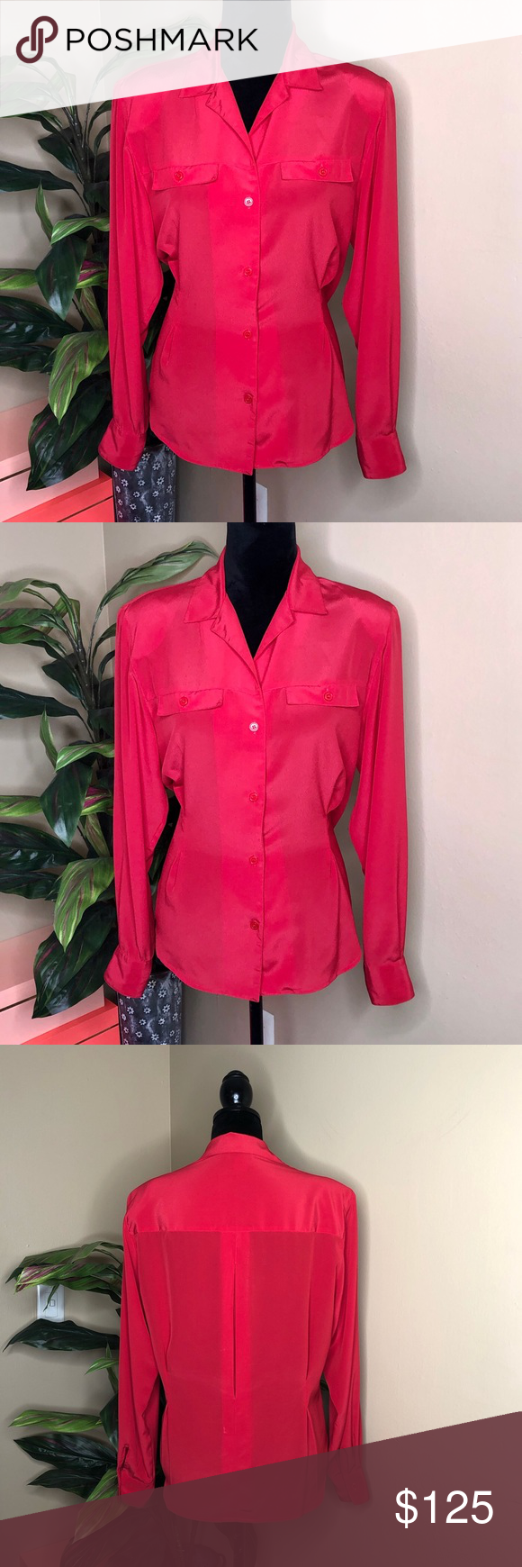 EUC Christian Dior Red Button Down EUC  No stains or Flaws Elegant side hem lines that flatter nearly any shape Shoulder pads Button down Silky feel 100% polyester  100% authentic Dior Tops Blouses #myposhpicks