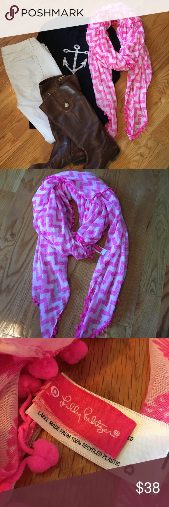 Lilly for Target Belladonna scarf Adorable and large pink and white scarf with a pineapples print and a pink Pom Pom trim! Only worn once. Lilly Pulitzer for Target Accessories Scarves & Wraps