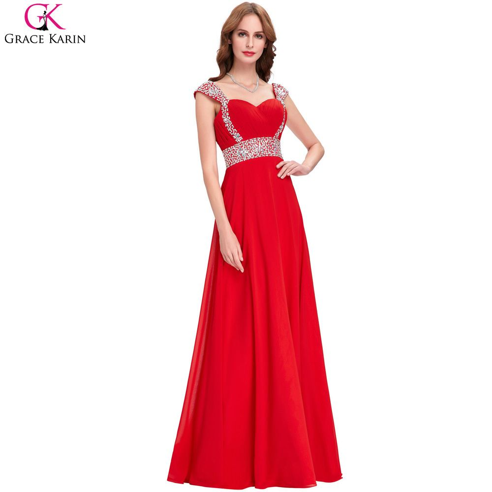 Click to buy ucuc red evening dresses long high quality grace