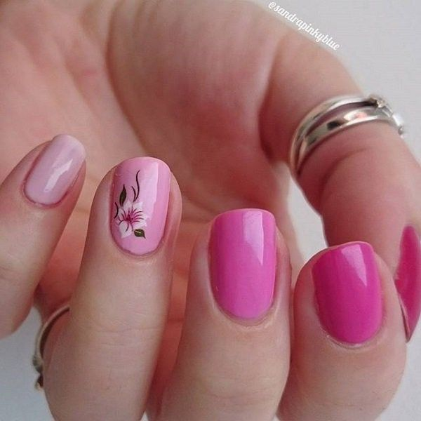 45 Pretty Pink Nail Art Designs A Small Small Flowers And Pink Nails