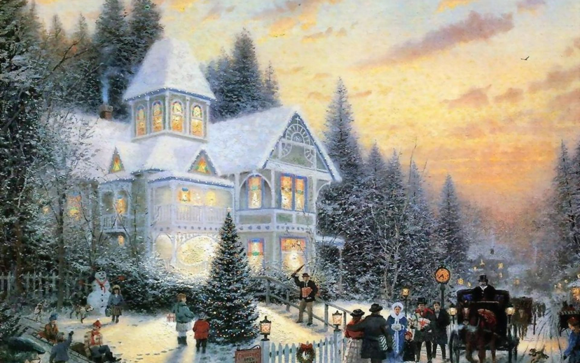 Thomas Kinkade Christmas Wallpaper Julebilleder Billeder Vinter