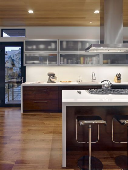 Contemporary Kitchen By Bruce Wrightfrom Houzz Article On Mix And Match Cbinet Style And Col Interior Kitchen Small Glass Kitchen Cabinets Contemporary Kitchen