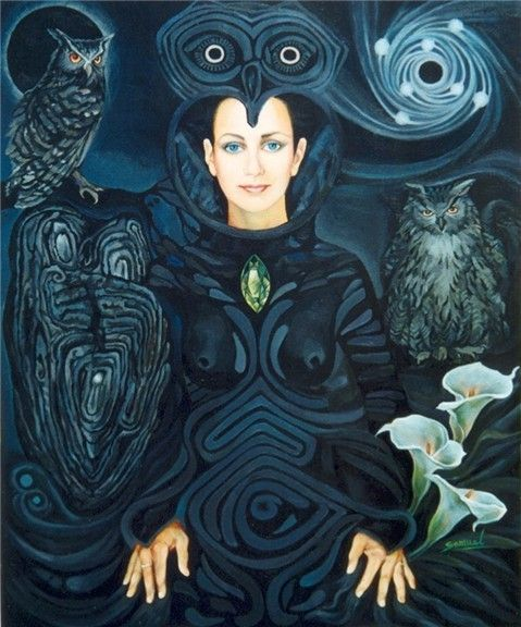 """""""Uwila"""" OWL WOMAN. by sami-edelstein on deviantART Night is a portal, that """"Uwila"""" flies through, Piercing 'night-space' and 'night-time' she's free, Free to perceive the other world with 'owl-light'. Her owl-sight looks into the depths, As a vision-quest for profound wisdom."""