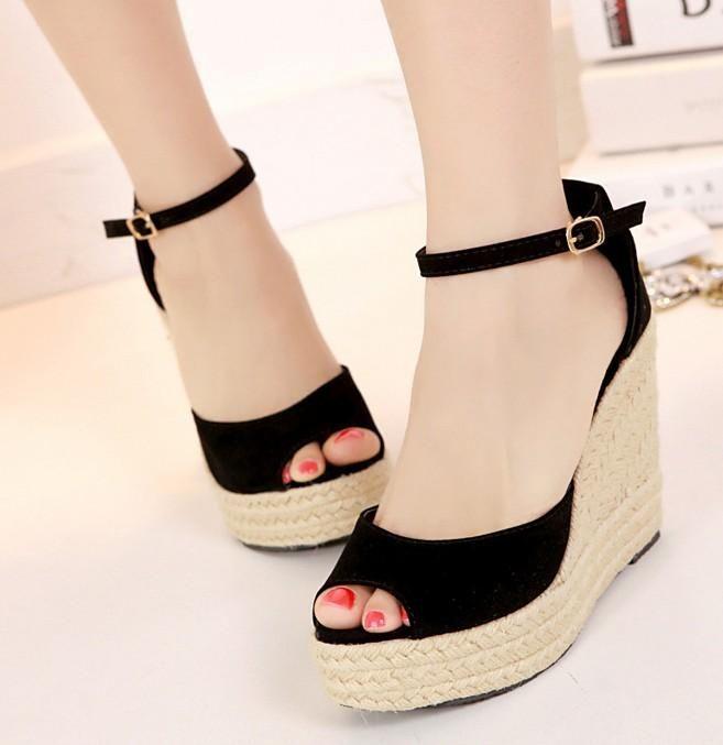 Sweet Girls Ladies Bowtie Polka Dot Wedges Straw Weave Ankle Strap Sandals Chic