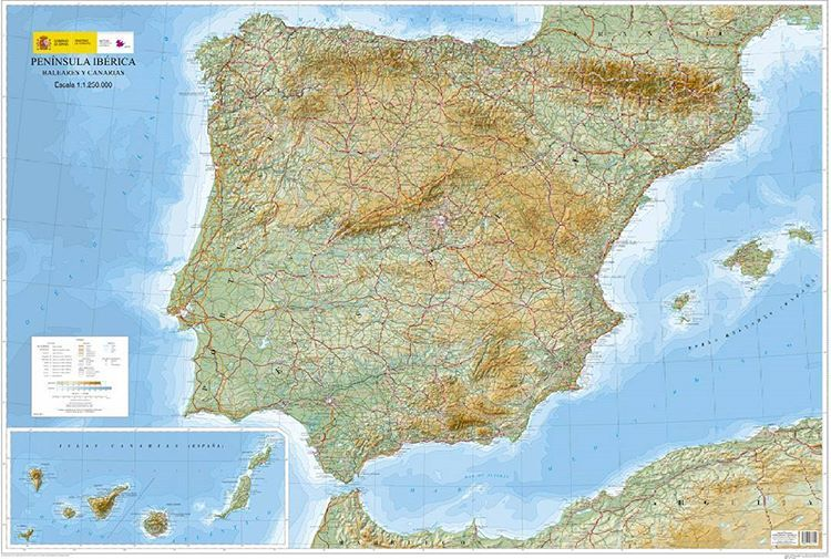 Espana Mapa Topografico Detallado Ilustracion Mapa Contiene