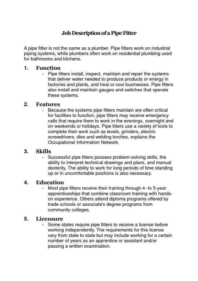 Job description of a pipefitter Style Pinterest Job description - plumber apprentice sample resume