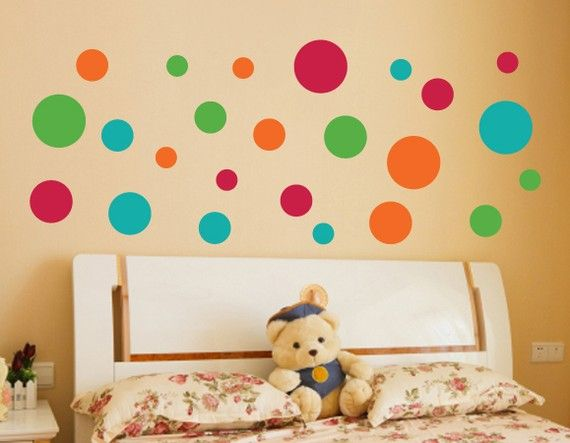Wall Vinyl Decal Set of 24 Polka Dots Choose up by SunshineDecals ...