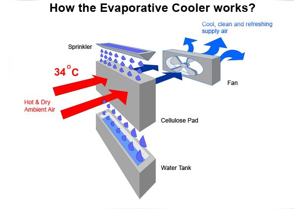 How The Evaporative Cooler Works 2 Copy Jpg 595 423 Evaporative Cooler Cool Words Water Tank