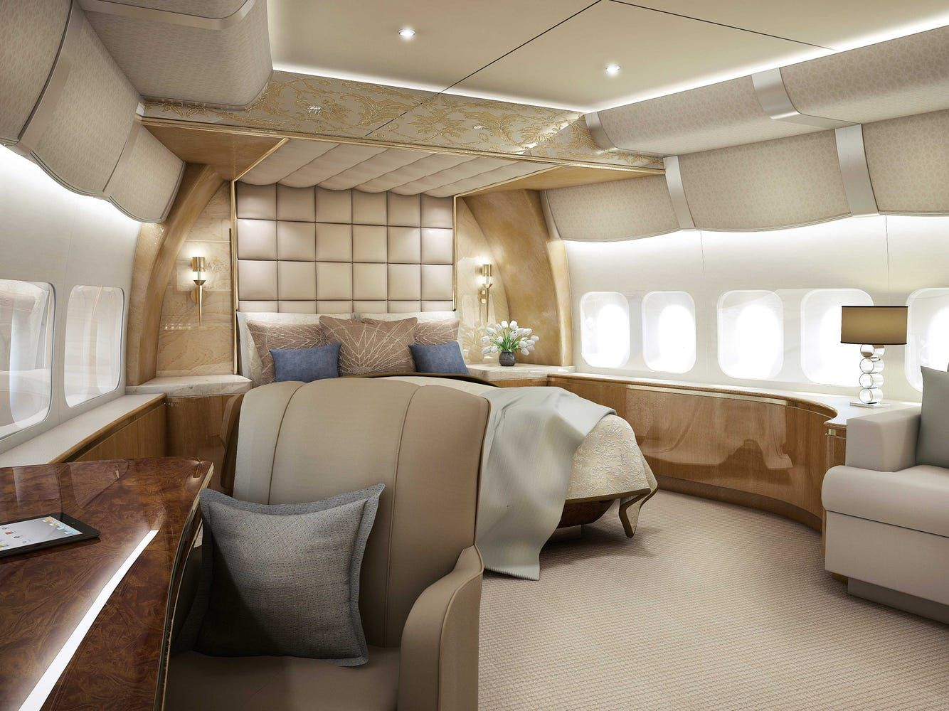 This 747 Private Jet Is A Palace In The Sky In 2020 Private Jet Interior Private Jet Luxury Private Jets