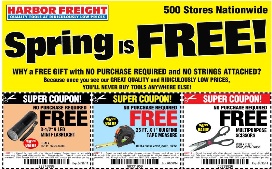 Harbor Freight FREE Flashlight, Measuring Tape and