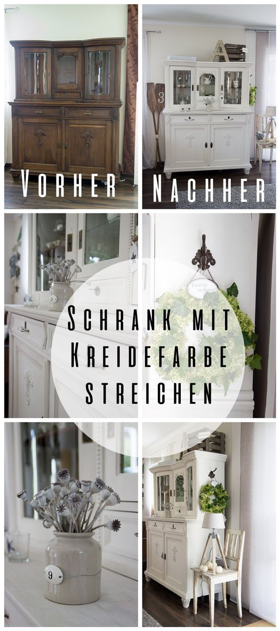 wohnzimmer schrank mit kreidefarbe gestrichen einrichtung pinterest kreidefarbe. Black Bedroom Furniture Sets. Home Design Ideas