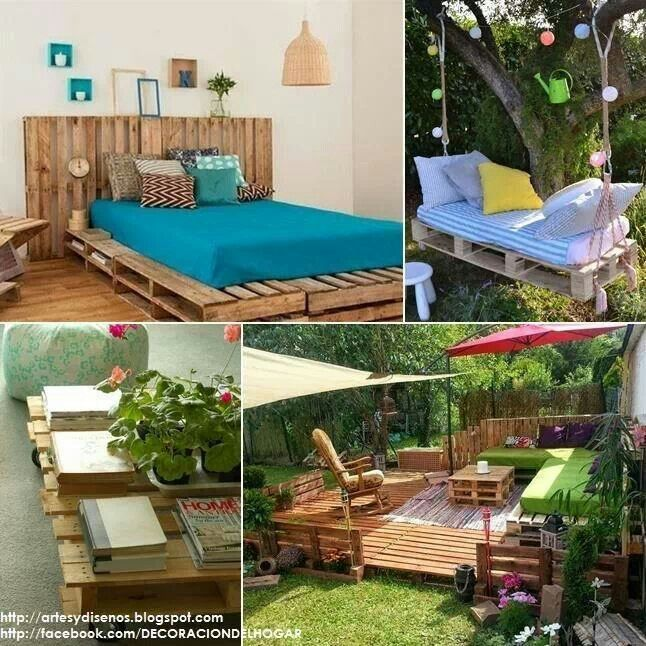 JARDIN Y CAMA PALETS | cama palets | Pinterest | Palets, Camas y Jardín