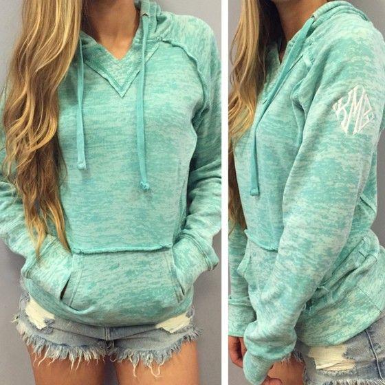 Green Plain Embroidery Pockets Long Sleeve Hooded Sweatshirt