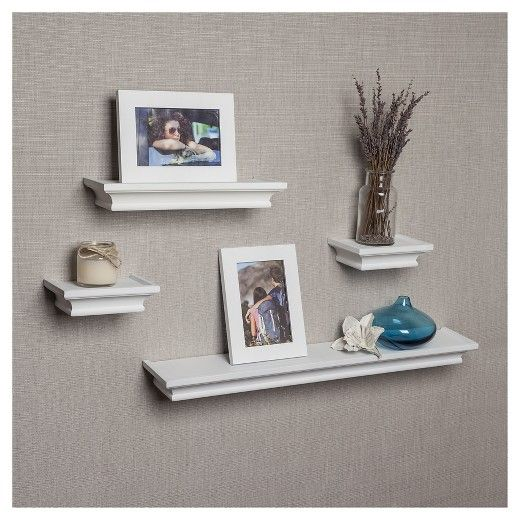 Danya B™ Set of 4 White Cornice Floating Shelves with 2 picture ...