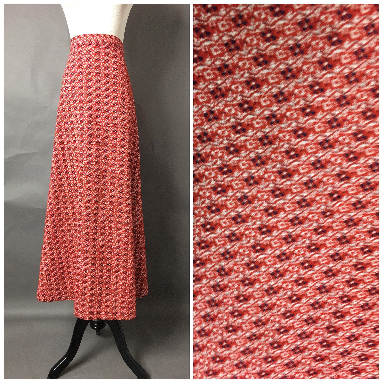 70s skirt Vintage 70s skirt / 1970s skirt / maxi skirt / atomic skirt / abstract Skirt / hippie skirt / boho skirt / Mod skirt / waist 28quot; / 2956