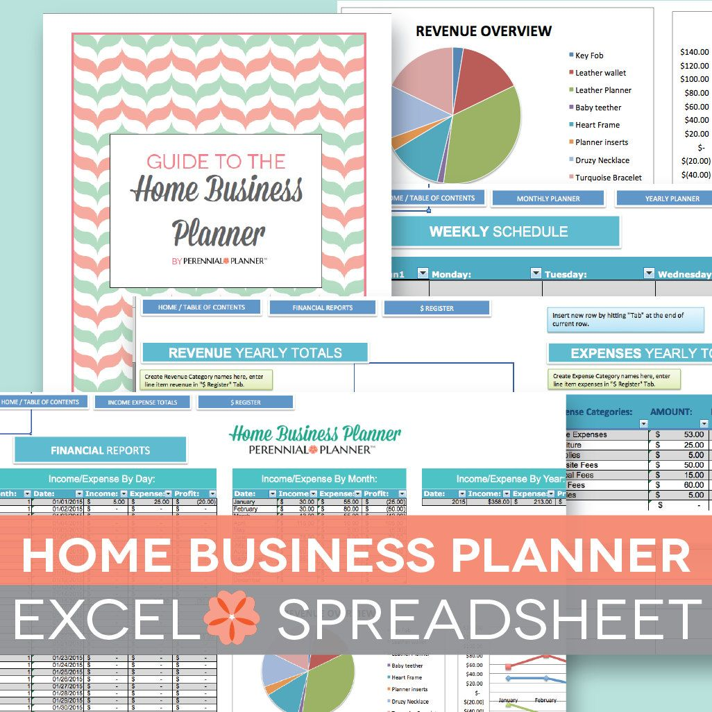 Home Business Planner 2019 2020 Excel Spreadsheet Etsy